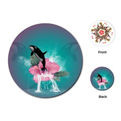 Orca Jumping Out Of A Flower With Waterfalls Playing Cards (Round)