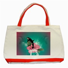 Orca Jumping Out Of A Flower With Waterfalls Classic Tote Bag (Red)