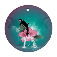 Orca Jumping Out Of A Flower With Waterfalls Round Ornament (Two Sides)