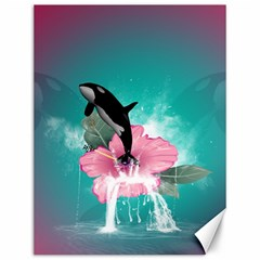 Orca Jumping Out Of A Flower With Waterfalls Canvas 12  x 16