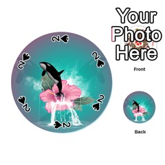 Orca Jumping Out Of A Flower With Waterfalls Playing Cards 54 (Round)