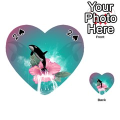 Orca Jumping Out Of A Flower With Waterfalls Playing Cards 54 (Heart)