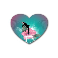 Orca Jumping Out Of A Flower With Waterfalls Heart Coaster (4 pack)