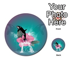 Orca Jumping Out Of A Flower With Waterfalls Multi Purpose Cards (round)
