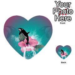 Orca Jumping Out Of A Flower With Waterfalls Multi-purpose Cards (Heart)