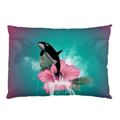 Orca Jumping Out Of A Flower With Waterfalls Pillow Cases