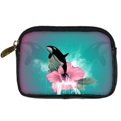 Orca Jumping Out Of A Flower With Waterfalls Digital Camera Cases