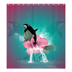 Orca Jumping Out Of A Flower With Waterfalls Shower Curtain 66  x 72  (Large)