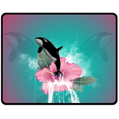Orca Jumping Out Of A Flower With Waterfalls Fleece Blanket (medium)