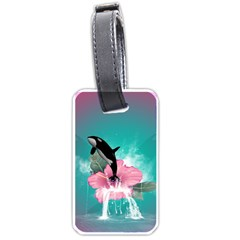 Orca Jumping Out Of A Flower With Waterfalls Luggage Tags (Two Sides)