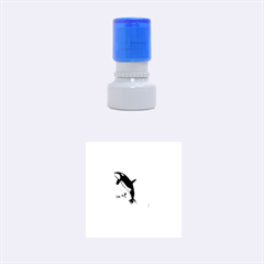 Orca Jumping Out Of A Flower With Waterfalls Rubber Round Stamps (Small)