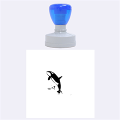 Orca Jumping Out Of A Flower With Waterfalls Rubber Round Stamps (Large)