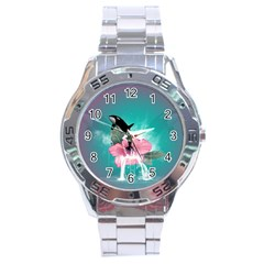 Orca Jumping Out Of A Flower With Waterfalls Stainless Steel Men s Watch