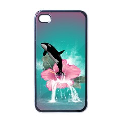Orca Jumping Out Of A Flower With Waterfalls Apple iPhone 4 Case (Black)