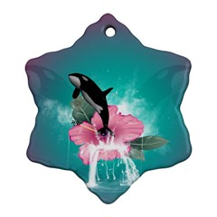 Orca Jumping Out Of A Flower With Waterfalls Ornament (snowflake)