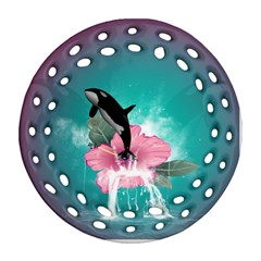 Orca Jumping Out Of A Flower With Waterfalls Round Filigree Ornament (2Side)