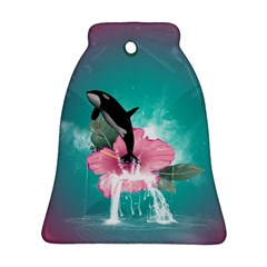 Orca Jumping Out Of A Flower With Waterfalls Bell Ornament (2 Sides)