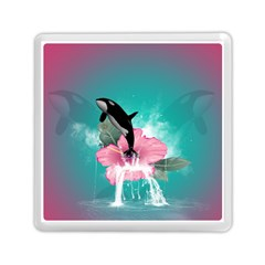 Orca Jumping Out Of A Flower With Waterfalls Memory Card Reader (square)