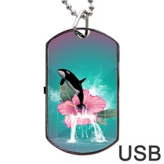 Orca Jumping Out Of A Flower With Waterfalls Dog Tag USB Flash (One Side)