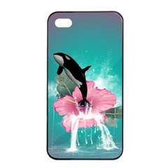 Orca Jumping Out Of A Flower With Waterfalls Apple Iphone 4/4s Seamless Case (black)