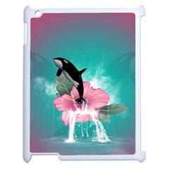 Orca Jumping Out Of A Flower With Waterfalls Apple iPad 2 Case (White)