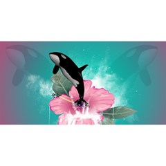 Orca Jumping Out Of A Flower With Waterfalls YOU ARE INVITED 3D Greeting Card (8x4)