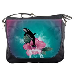 Orca Jumping Out Of A Flower With Waterfalls Messenger Bags