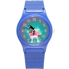 Orca Jumping Out Of A Flower With Waterfalls Round Plastic Sport Watch (S)