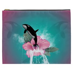 Orca Jumping Out Of A Flower With Waterfalls Cosmetic Bag (XXXL)