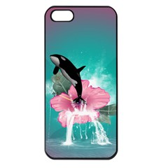Orca Jumping Out Of A Flower With Waterfalls Apple iPhone 5 Seamless Case (Black)