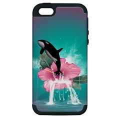 Orca Jumping Out Of A Flower With Waterfalls Apple iPhone 5 Hardshell Case (PC+Silicone)