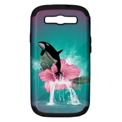 Orca Jumping Out Of A Flower With Waterfalls Samsung Galaxy S III Hardshell Case (PC+Silicone)