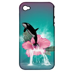 Orca Jumping Out Of A Flower With Waterfalls Apple iPhone 4/4S Hardshell Case (PC+Silicone)