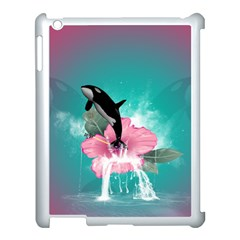 Orca Jumping Out Of A Flower With Waterfalls Apple iPad 3/4 Case (White)