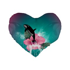 Orca Jumping Out Of A Flower With Waterfalls Standard 16  Premium Heart Shape Cushions