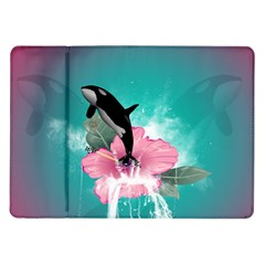 Orca Jumping Out Of A Flower With Waterfalls Samsung Galaxy Tab 10.1  P7500 Flip Case