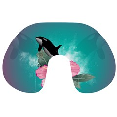 Orca Jumping Out Of A Flower With Waterfalls Travel Neck Pillows