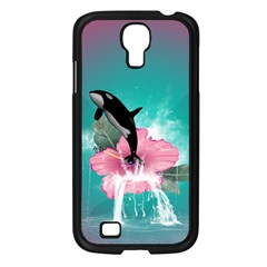 Orca Jumping Out Of A Flower With Waterfalls Samsung Galaxy S4 I9500/ I9505 Case (Black)