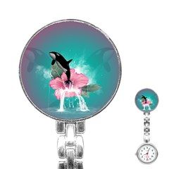 Orca Jumping Out Of A Flower With Waterfalls Stainless Steel Nurses Watches