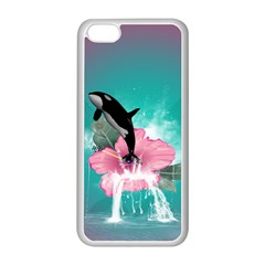 Orca Jumping Out Of A Flower With Waterfalls Apple iPhone 5C Seamless Case (White)