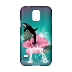 Orca Jumping Out Of A Flower With Waterfalls Samsung Galaxy S5 Hardshell Case