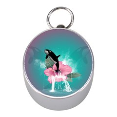 Orca Jumping Out Of A Flower With Waterfalls Mini Silver Compasses