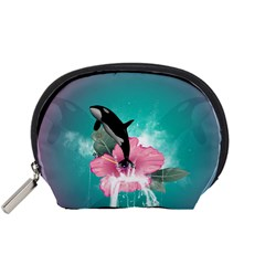 Orca Jumping Out Of A Flower With Waterfalls Accessory Pouches (Small)