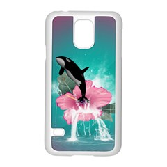 Orca Jumping Out Of A Flower With Waterfalls Samsung Galaxy S5 Case (White)
