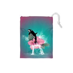 Orca Jumping Out Of A Flower With Waterfalls Drawstring Pouches (Small)