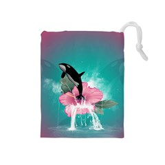 Orca Jumping Out Of A Flower With Waterfalls Drawstring Pouches (Medium)
