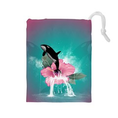 Orca Jumping Out Of A Flower With Waterfalls Drawstring Pouches (Large)