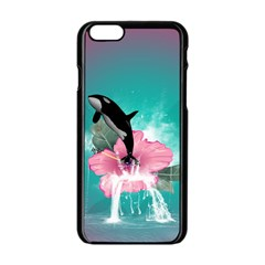 Orca Jumping Out Of A Flower With Waterfalls Apple iPhone 6/6S Black Enamel Case
