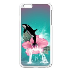 Orca Jumping Out Of A Flower With Waterfalls Apple iPhone 6 Plus/6S Plus Enamel White Case