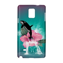 Orca Jumping Out Of A Flower With Waterfalls Samsung Galaxy Note 4 Hardshell Case